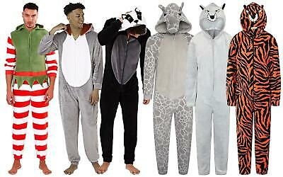 Mens Luxury Soft Coral Fleece Novelty Animal 3D All in One 1Onesie with Hood