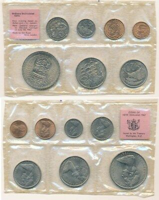 New Zealand: 1967 UNCIRCULATED 7 Coins Set 1c to $1, Hard to get now