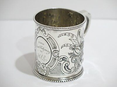 3 in - Coin Silver Antique English Georgian Fruit Decorated Baby Cup