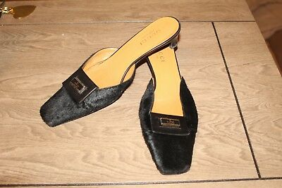 dfdac06768b GUCCI Fur SHOES Black Leather Kitten Heels Pumps Mules Slides Backless US 9  (C3)