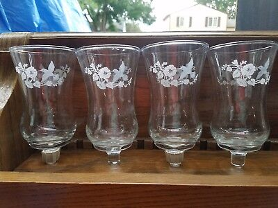 Vtg Set 4 Large HOMCO Home Interior Clear Votive Cup Candle Holders Hummingbird