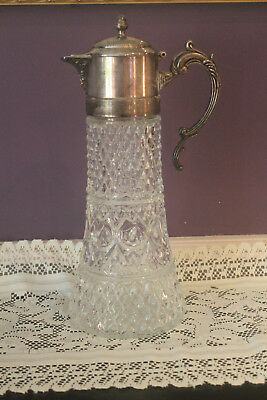 "Vintage 14"" Silver Plate & Pressed Glass Wine Claret Jug Pitcher Carafe"