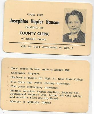 1950s Campaign Card To Candidate Josephine Hanson Clerk At Russell County Kansas