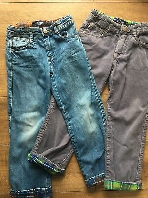 2 X BOYS MINI BODEN Blue JEANS Grey CORDS LINED Warm Thick Age 7-8