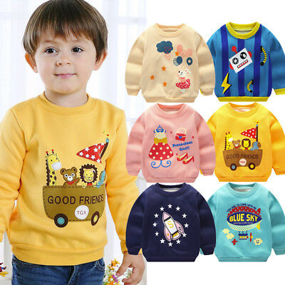Child Kids Boys Cartoon Print Warm Long Sleeve Sweatshirt Pullover Tops Shirt UK