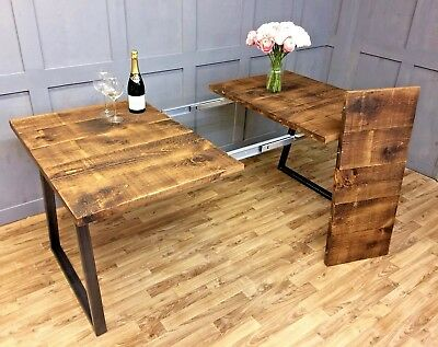 Extendable Dining Table Reclaimed Industrial Style Hand Made To Order