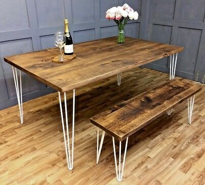 Industrial Hairpin Dining Table Vintage Farmhouse Reclaimed Hairpin Table Desk