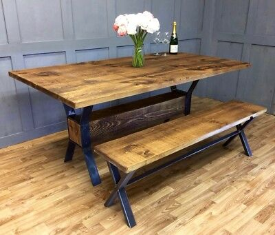 Industrial Table Retro Timber Block Dining Table Rustic Vintage Farmhouse
