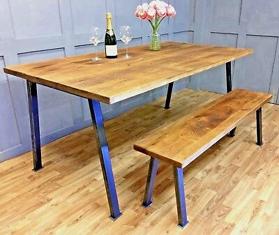 Industrial Reclaimed Dining Table Rustic Solid Antique Kitchen Farmhouse Table
