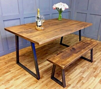 Industrial Style Dining Table And Bench Set Dining Table and Chair Set