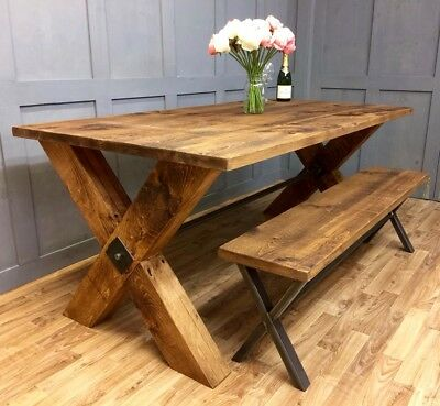 Industrial Dining Table Rustic Farmhouse Vintage Reclaimed Dining Table