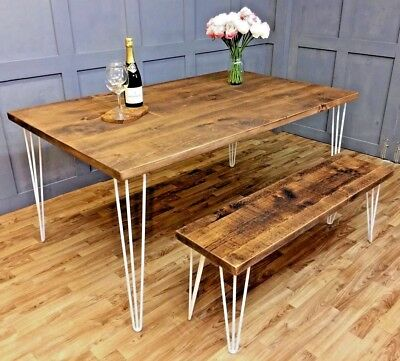 Industrial Hairpin Dining Table Rustic Farmhouse Reclaimed Hairpin Tables Desks