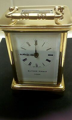 Matthew Norman Brass Carriage Clock With Key And Box.very Good Working Condition