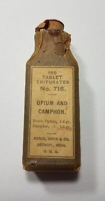 Opium and Camphor Parke Davis Co Pharmacy Apothecary Drug Bottle Triturates 716