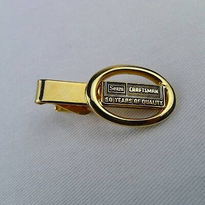 Vintage Sears Craftsman Tie Clip 50 Years Of Quality Gold Tone
