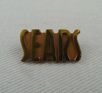 Vintage Sears Employee Pin Gold And Copper Tone Stylized Script