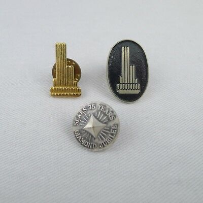 Vintage Sears Lapel Pins 75 Year Jubilee Willis And 2 Sears Tower Chicago