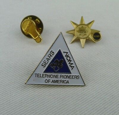 3 Sears Lapel Pins Lightbulb - Sales Pointer - Sears Noma Telephone Pioneers