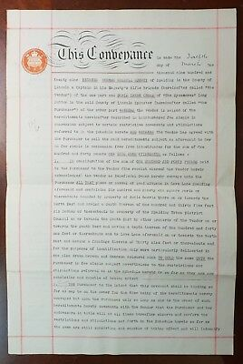 1929 Indenture Captain Harvey to Miss Cross for Land in Love Lane, Spalding