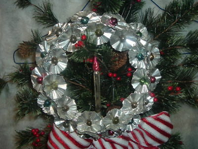"""Vintage 8 1/2"""" Foil Christmas Wreath with  Rosettes and Mercury Bead Centers"""
