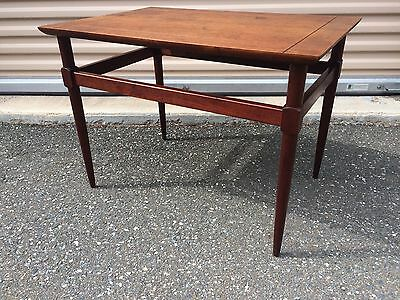 Mid-Century Modern Side Table Vintage Wood Walnut Square Shelf American Made