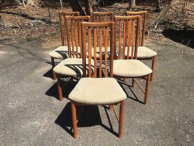 Danish Modern Teak Dining Chairs by Benny Linden - Set of Six