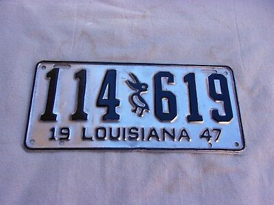 Louisiana 1947 Aluminum License Plate--Restored