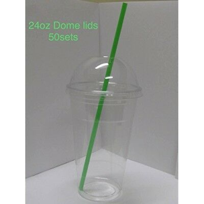 50sets 24oz. Plastic Ultra Clear Cups with dome lids, dome lids with hole