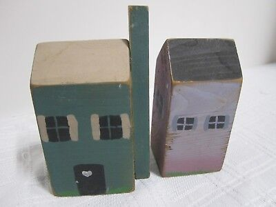 Houses Little Wooden Houses Folk Art Country Primitive Hand Painted Set Of Two