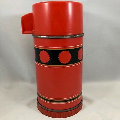 Vintage Aladdin Economy Thermos Bottle Red & Black No 3B Half Pint 113 Cup
