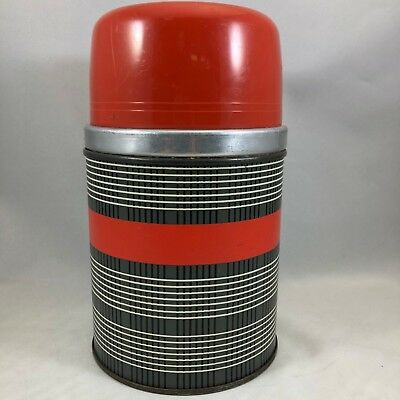 Vintage Aladdin Thermos Red & Grey No WM90A Pint Size Wide Mouth Insulated Cup