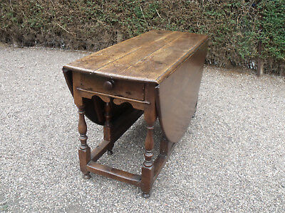 ANTIQUE EARLY PERIOD OAK & COUNTRY DROP LEAF DINIG TABLE c1850 STUNNING