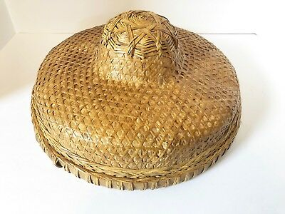 Vintage Asian Vietnamese Chinese Rice Paddy Coolie Conical Hat Farmers Rattan