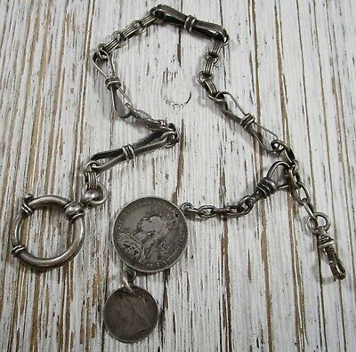 Cheap Price .late 1800s English Sterling Silver Double Albert Pocket Watch Chain Fob Coin Silver Jewelry & Watches