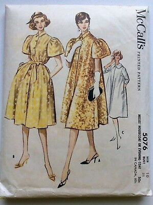 McCall's Printed Pattern #5076, 1950's Housecoat, Evening Coat, Size 10, Cut