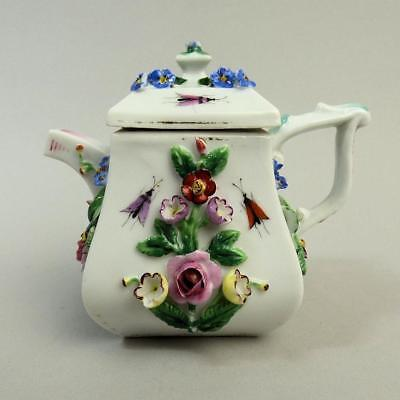 Antique Dresden Floral Encrusted Porcelain Teapot C.1880