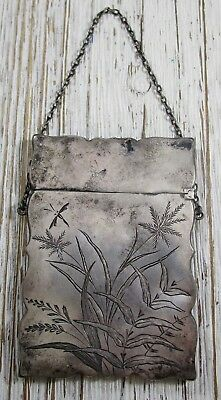 Card Holder with Chain Vintage Victorian Etched Sterling Silver 36.4 Grams