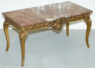 Rouge Marble Topped French Giltwood Coffee Table Heavy Rococo Baroque Carving