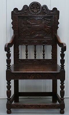 Circa 1780 Wainscot Armchair Carved Wood Panel Depicting King Charles I Chair