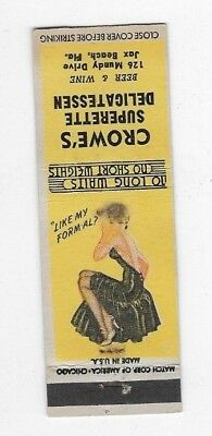 Vintage Pin Up Matchbook Cover CROWE'S SUPERETTE DELI Jacksonville Beach FL #764