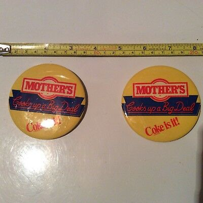 Lot Of 2 Coke Is It, Coca Cola, Mother's Pizzeria Buttons, Circa 1977