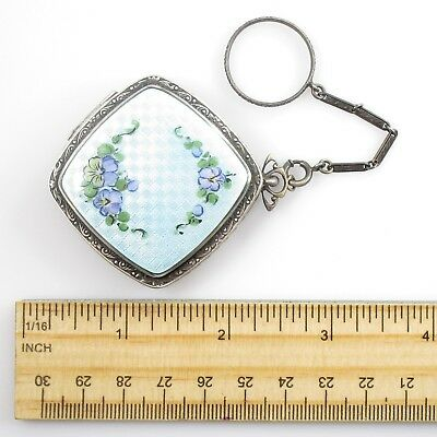 R&G Co Guilloche Enamel Mirror Compact Vintage Sterling Silver Etched & Chain