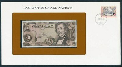 Austria: 1967 20 Schilling Note & Stamp Cover, Banknotes Of All Nations Series