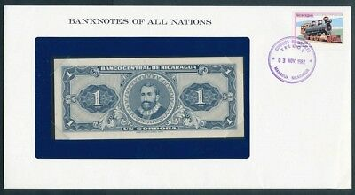 Nicaragua: 1968 1 Cordoba Note & Stamp Cover, Banknotes Of All Nations Series