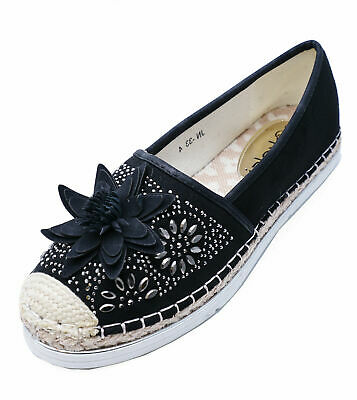 Ladies Flat Black Slip-On Holiday Comfy Espadrille Pumps Casual Shoes Sizes 3-8
