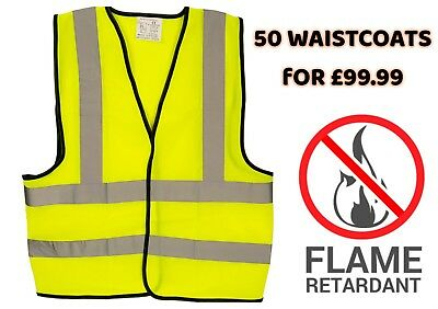 50 Yellow Flame Retardant Hi Viz Vis Waistcoats Vest Vests Size Medium