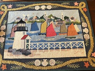 Vintage Claire Murray Nautical 100 Wool Hand Hooked 38 X52 Area