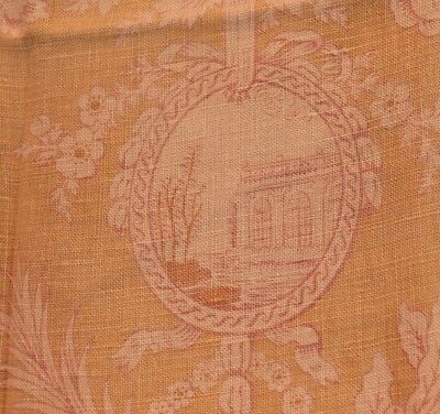 Antique French block print linen c 1920 medallion Trianon castle Versailles parc