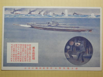 1930s Japanese Picture postcard of the navy.Explanation of a submarine.