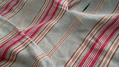 French antique linen & hemp stripe ticking cutter beautiful colors late 1800's